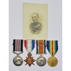 WW1 Military Medal, 1914-15 Star, British War Medal & Victory Medal Group - Bmbr. S. Symons, C.236 / London Bde. Royal Field Artillery