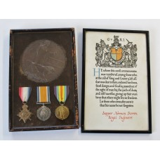 WW1 1914-15 Star Medal Trio, Memorial Plaque & Scroll - Spr. N. Barron, 88th Field Coy. Royal Engineers - Died (Gallipoli)