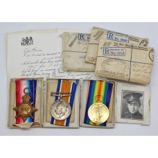 WW1 First Day of the Somme Casualty 1914-15 Star Medal Trio - Gnr. F. Unsworth, Royal Artillery - K.I.A.