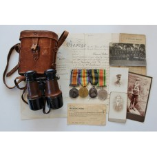 WW1 British War Medal, Victory Medal, Territorial Force Efficiency Medal & WW2 Defence Medal Group with Original Documents, Photographs & Private Purchase Binoculars - Capt. T. Hollis, 2/5th Bn. Loyal North Lancashire Regiment