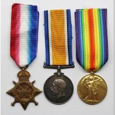 WW1 1914-15 Star, British War & Victory Medal Trio - Pte. E.