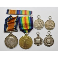 WW1 British War & Victory Medal Pair with 4 Hallmarked Silver Sporting Medallions - Pte. W.W. Blythe, Royal Army Medical Corps
