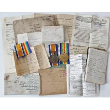 WW1 British War & Victory Medal Pair with Original Documents & Box of Issue - Pte. E.G. Colston, Royal Army Medical Corps