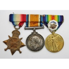 WW1 1914-15 Star Medal Trio and National Union of Agriculture Silver Badge - Pte. J. Wilkins, Royal Army Medical Corps