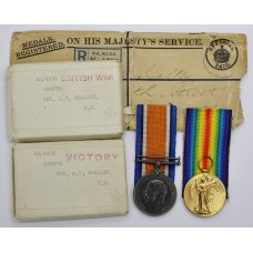 WW1 British War & Victory Medal Pair with Boxes of Issue and Identity Disc - Spr. A.V. Smalley, Royal Engineers
