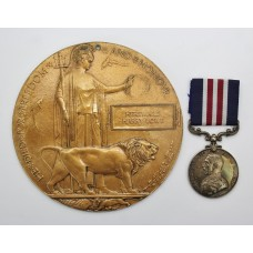 WW1 Military Medal and Memorial Plaque (Death Penny) - Dvr. H.H. Lowe, Royal Artillery - K.I.A.