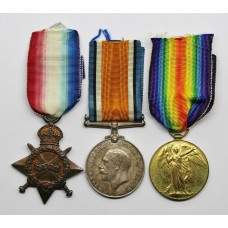 WW1 1914-15 Star, British War & Victory Medal Trio - Pte. T.O. Jones, 13th (1st North Wales) Bn. Royal Welsh Fusiliers