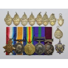 WW1 Prisoner of War 1914 Mons Star, British War Medal, Victory Medal, GSM (Kurdistan) and LS&GC Medal Group with Humane Society Swimming Proficiency Medal and 9 Other Silver Medals - Bandsman S. Inman, 2nd Bn. West Yorkshire Regiment