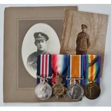 WW1 Military Medal, 1914-15 Star, British War Medal & Victory Medal (MID) - 2nd Lieut. E.C.F. Dunstan, Royal Artillery