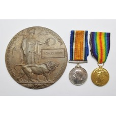 WW1 British War Medal, Victory Medal and Memorial Plaque - L.Cpl. R. White, 1st Bn. King's Own (Royal Lancaster) Regiment - K.I.A.