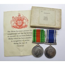 WW2 Defence Medal and George VI Police Long Service & Good Conduct Medal - Sergeant Arthur Sleath, Doncaster Borough Police