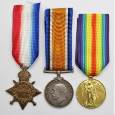 WW1 1914-15 Star Medal Trio - Pte. A.H. Sandford, Lincolnshire Regiment