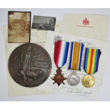 WW1 1914 Mons Star Medal Trio and Memorial Plaque (Death Penny) - Pte. J. Ross, 1st Bn. Seaforth Highlanders - K.I.A. (Siege of Kut)