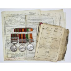 1895 IGS (3 Clasps), QSA (3 Clasps) & KSA (2 Clasps) Medal Group of Three with Original Documents - Serjt. T. Harsley, 2nd Bn. King's Own Yorkshire Light Infantry