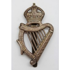London Irish Rifles Cast Silver Pipers Caubeen Badge - King's Crown