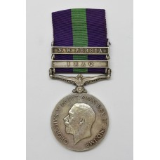 General Service Medal (Clasps - Iraq, N.W. Persia) - Pte. F. Rowe, York & Lancaster Regiment