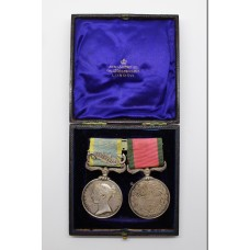 1854 Crimea Medal (Clasp - Sebastopol) and Turkish Crimea Medal (British Issue) in Fitted Box - Qr. Mr. of Bge. L. Isacke, Land Transport Corps