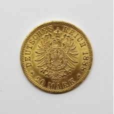 1888A German Prussian Friedrich III 900 Gold 20 Mark Coin