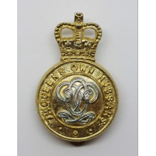 7th Queen's Own Hussars Anodised (Staybrite) Cap Badge - Queen's Crown