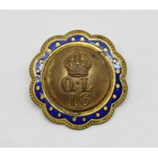 16th Queen's Lancers Button Sweetheart Brooch - King's Crown
