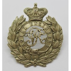 Victorian Royal Engineers Volunteers White Metal Cap Badge