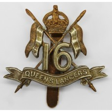Scarce Edwardian 16th Queen's Lancers Cap Badge - King's Crown (no 'The' in scroll). (c.1902-1905)
