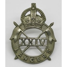 24th Lancers Cap Badge - King's Crown