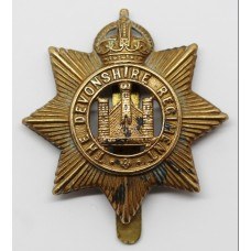 Devonshire Regiment WWI All Brass Economy Cap Badge