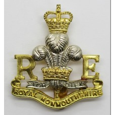 Royal Monmouthshire Royal Engineers Bi-Metal Cap Badge - Queen's