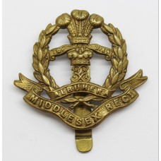 Middlesex Regiment WW1 All Brass Economy Cap Badge