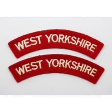 Pair of West Yorkshire Regiment Cloth Shoulder Titles
