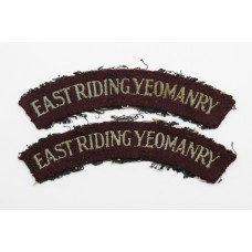 Pair of WW2 East Riding Yeomanry Cloth Shoulder Titles