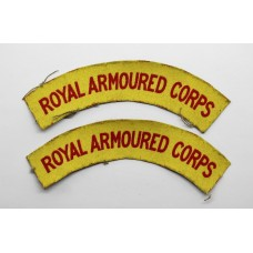 Pair of WW2 Royal Armoured Corps (R.A.C.) Printed Shoulder Titles