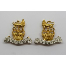 Pair of 15th/19th Hussars Officer's Collar Badges - Queen's Crown