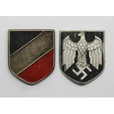 Pair of German WW2 Solar Helmet Badges
