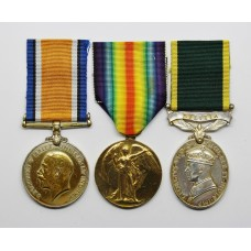 WW1 British War Medal, Victory Medal and George VI Territorial Efficiency Medal (Militia) - Pte. E. Truman, South Wales Borderers & Royal Monmouthshire R.E.