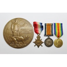 WW1 1914-15 Star, British War Medal, Victory Medal & Memorial Plaque - Pte. F.. Holder, 15th (Carmarthanshire Pals) Bn. Welsh Regiment & 11th Bn. Cheshire Regiment - Died as a P.O.W.