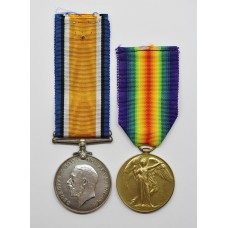 WW1 British War & Victory Medal Pair - Pte. C. Alvey, Northum
