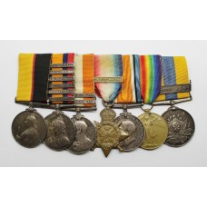 Queen's Sudan Medal, QSA (6 Clasps), KSA (2 Clasps), WW1 1914 Mons Star Trio and Khedives Sudan (Clasp - Khartoum) Medal Group of Seven - Dvr. R. Palmer, Royal Field Artillery