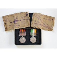 Queen's South Africa Medal (Clasps - Cape Colony, Orange Free State, Transvaal) and King's South Africa Medal (Clasps - South Africa 1901, South Africa 1902) with Boer War Gift Tin - Sgt. J. Williams, 4th Bty. Royal Field Artillery