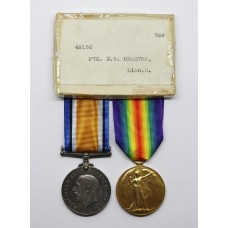 WW1 British War & Victory Medal Pair - Pte. E.G. Ormston, Lincolnshire Regiment