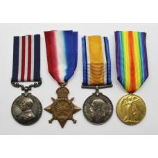 WW1 Military Medal, 1914-15 Star, British War Medal & Victory Medal Group - Pte. J.W. Mortimer, 9th Bn. York & Lancaster Regiment / East Yorkshire Regiment / Royal Air Force