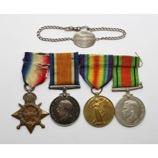 WW1 1914-15 Star Medal Trio, WW2 Defence Medal and Silver Identity Bracelet - Lt. M.A.C. Ritter, Royal Navy