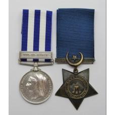 Egypt Medal (Clasp - Tel-El-Kebir) and 1882 Khedives Star - Sergt