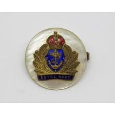 Royal Navy Enamelled Sweetheart Brooch - King's Crown