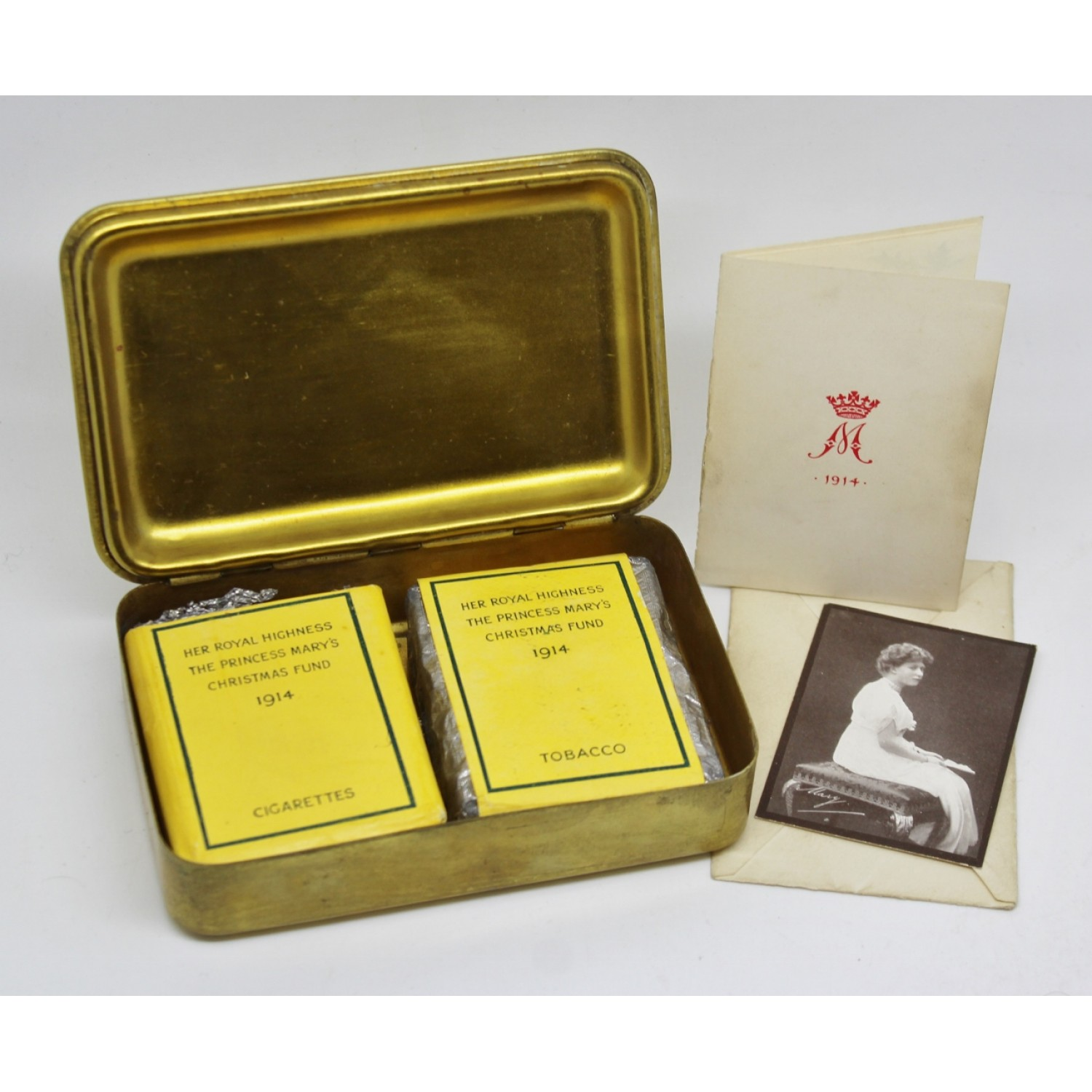 1914 princess mary christmas gift tin with contents cigarettes