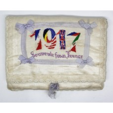 WW1 1917 Dated Silk Embroidered Jewellery Pad / Cushion