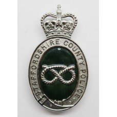 Staffordshire County Police Enamelled Helmet Plate - Queens Crown