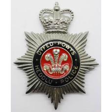 Dyfed - Powys Heddlu - Police Enamelled Helmet Plate - Queens Crown