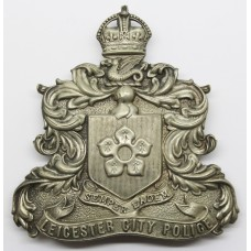 Leicester City Police Helmet Plate - Kings Crown